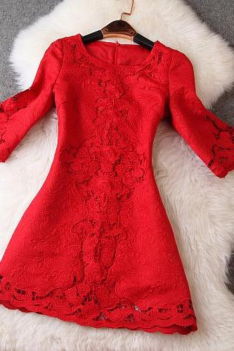 Embroidered Crochet Short Dress In Red HG07