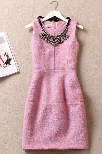Sleeveless Floral Woolen Dress/Party Dress