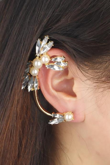 Best Sale Jewelry Women's Fahsion Punk Style Pearl Diamond Shining Flower Shape Elegant Ear Cuff Earring