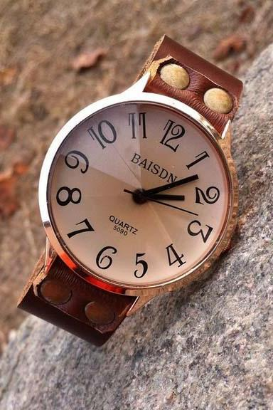 Brown Leather Strap Casual Watch-Womens leather watch Mens Wristwatches