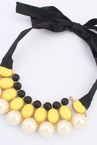 Dress imitation yellow pearl fashion prom girl necklace