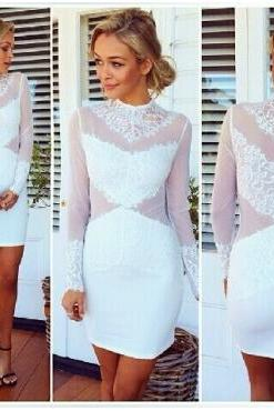 Chic White Turtle Neck Lace Dress