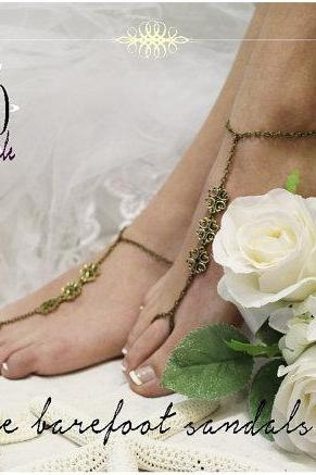 LAVISH LOVE Barefoot sandals Bronze filigree destination beach weddings bridesmaids footless sandles foot jewelry Catherine Cole Studio BF15