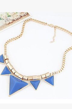 Fluorescent color triangle necklace