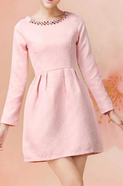 Retro jacquard long-sleeved dress XE0104CE