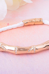 The metal copper tube Diamond leather cord Personality multilayer bracelet