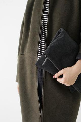 WOOL-LIKE fabric clutch handbag