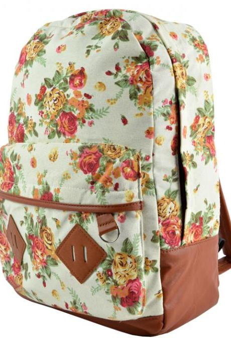 Canvas Flower Rucksack Backpack School Bag