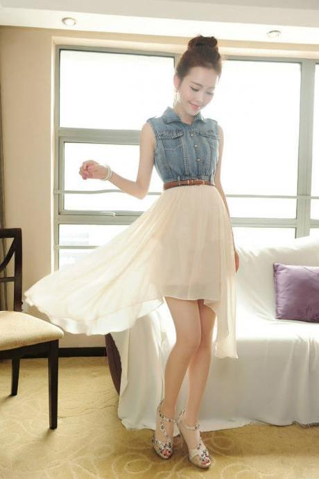 FASHION CHIFFON COWBOY NICE IRREGUALR DRESS
