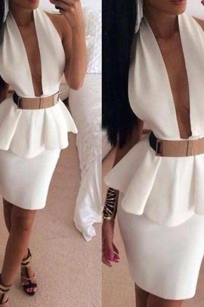 SEXY BACKLESS SHOULDERS BANDAGE DRESS