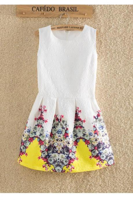 LOVELY FLORAL PRINTED SLEEVELESS TALL WAIST ROUND COLLAR PRINCESS DRESS