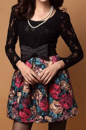 LACE BOWKNOT FLOWER RETRO DRESS