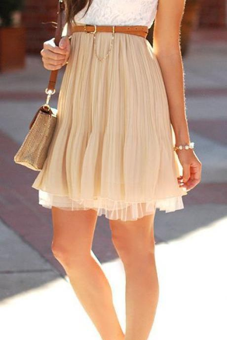 FRESH LACE CHIFFON CUTE DRESS