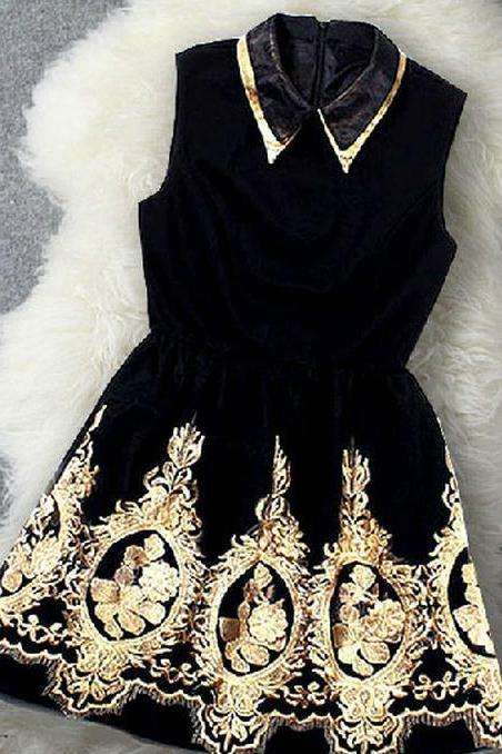EMBROIDERY LAPEL CUTE DRESS