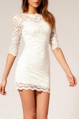 WHITE NICE LACE DRESS HIGH QUALITY