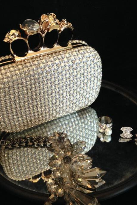 Skull Knuckle Ring Box Bead Evening Clutch Bridal Wedding Unique Purse Designer Shinny Bling Bling Bags Purses DIY Handmade Hardcase Bags