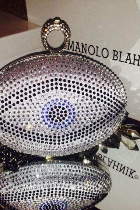 One Ring Evil Eye Crystal Sparkle Oval Clutch Box Handbag Purses Party Bag Custom Make Handmade Clutch