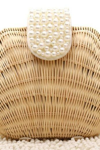 Vintage Retro Shell Bead Clutch Rattan Hardware Clutch Beach Handbag Purse Clutches Handmade Designer Purses