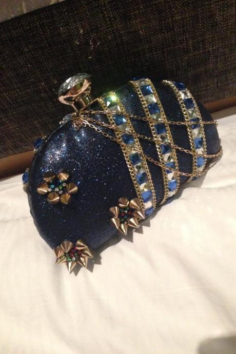 Super Italy Desinger Crystal Spike Rivet Bling Box Clutch Fashion Loyal Blue Handbag Purses