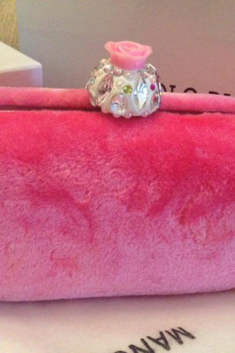 Flower Crystal DIY Faux Pink Fur Box Clutch Duster bridal Flower Hasp Box Handbag Purses Evening Clutch