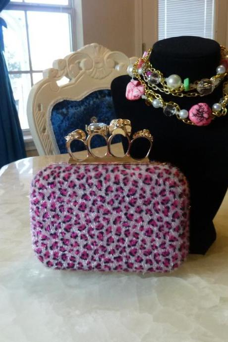 skull knuckle ring box leopard Pink Faux Horse Fur Box Clutch Evening Clutch