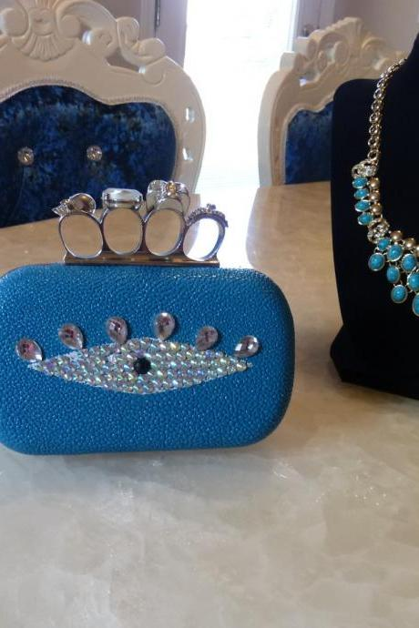 Skull Knuckle Ring Evil Eye Bling Bling Clutch Handbag Purses DIY custom made Unique Clutch