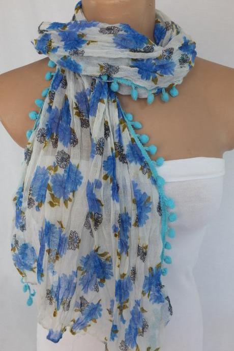 Blue floral scarf, long blue scarf with pompom trim, woman fashion scarf, fabric shawl, beach wrap,gift for her
