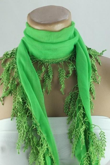 Neon green scarf , lace trim scarf, green fringed scarf, Cotton foulard, Coral blue scarf , cotton foulard, gift ideas for her