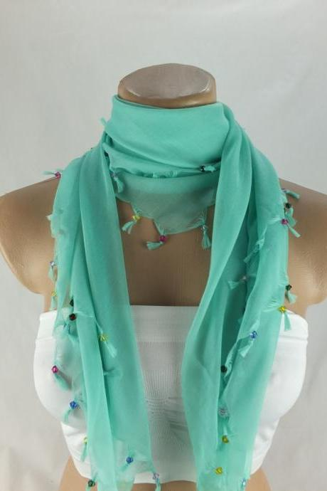 Mint green scarf with cyrstal beads, Square head scarf,traditional Turkish scarf shawl, Fabric shawl, Christmas gift for her,