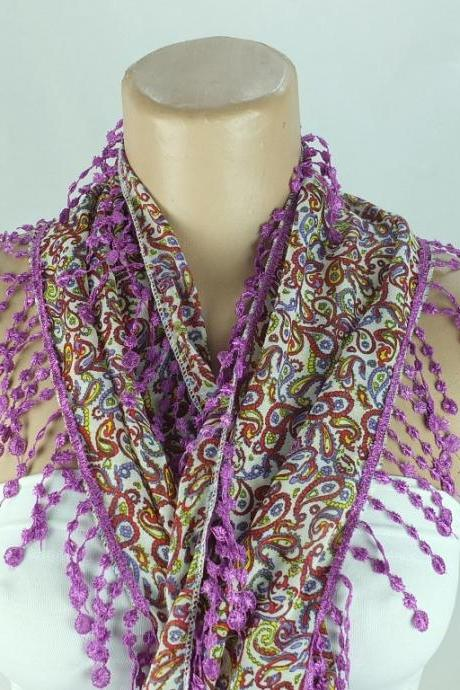 Multicolor paisley scarf, fringed scarf, cotton scarf, cowl with polyester trim,neckwarmer, lace edge scarf necklace, foulard,scarflette,