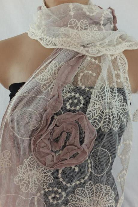 Woman fashion scarf , tulle and cotton scarf, dusty pink and cream shawl, long scarf shawl, lace cowl, gift for her
