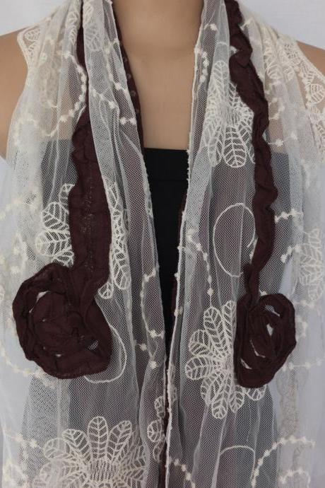 Rose scarf shawl, tulle and cotton scarf, brown and cream shawl, long scarf shawl, lace cowl, gift for her