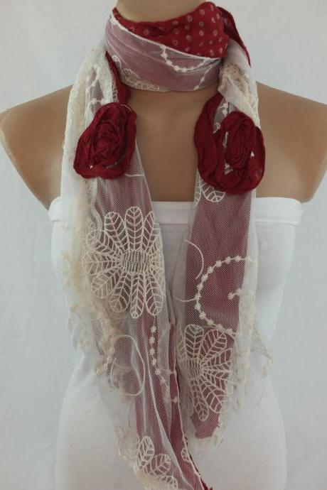 Deep wine and cream scarf/shawl, tulle and cotton scarf, womans elegant scarf, long scarf shawl, lace cowl, gift for her