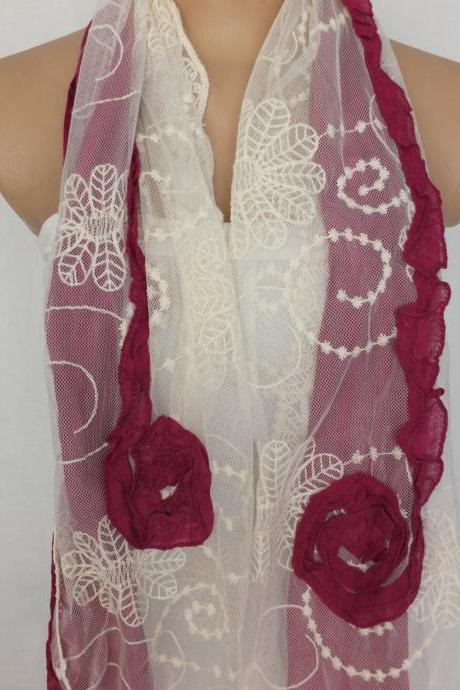 Burgundy rose scarf, tulle and cotton scarf, burgundy and cream shawl, long scarf shawl, lace cowl, gift for her