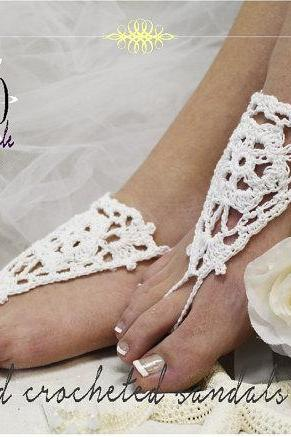 ATHENA Crochet Barefoot sandals handmade bridesmaids footless sandles beach wedding slave sandals foot jewelry Catherine Cole BF2