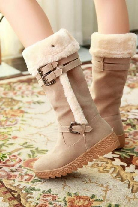 Stylish Suede Winter Boots In Apricot Color
