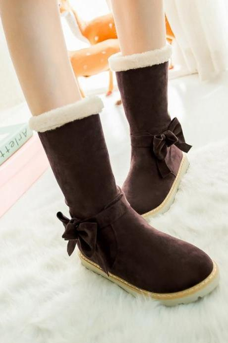 Winter Fashion Bow Design Suede Winter Boots In Brown And Apricot