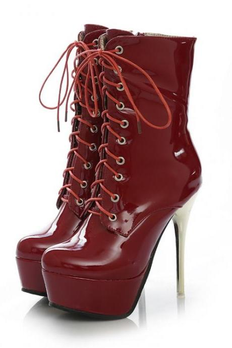 Sexy Red Lace Up High Heels Fashion Boots