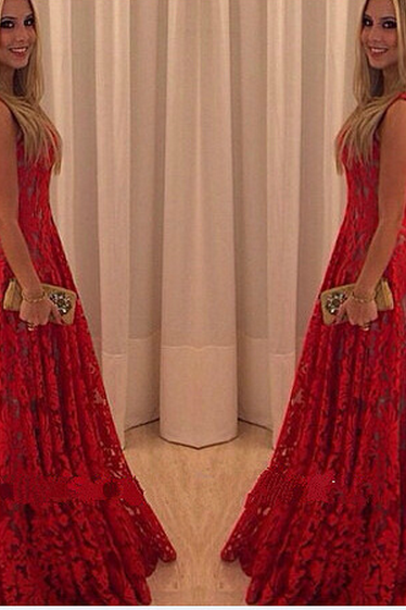 FASHION HOT RED LONG CUTE DRESS