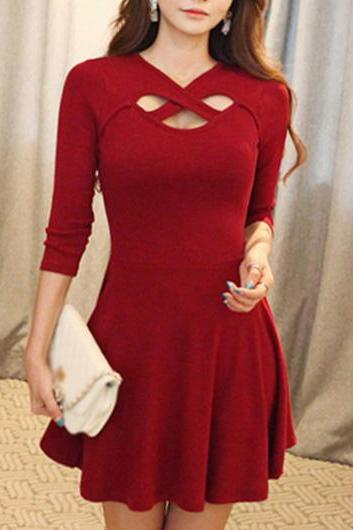 Beautiful Hollow Design Three Quarter Sleeve Dress - Wine Red