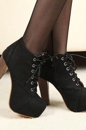 Black Lace Up Suede High Heel Boots