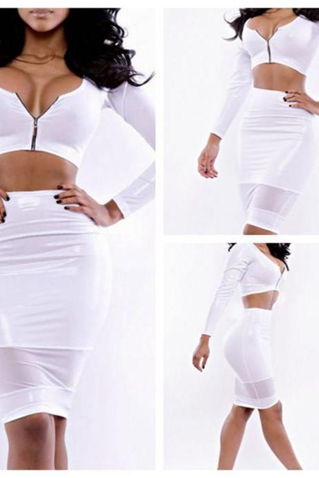 TWO-PIECE ZIPPER SEXY FASHION SPLICING SEXY NETWORK DRESS