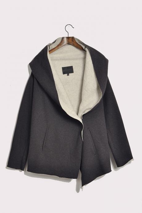 The new cloak type winter hooded long sleeved one button cardigan sweater cashmere coat