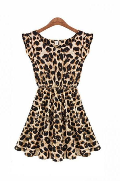 New Style Fashion Leopard Print Dress Leopard Dress Short Skirt Store Size S M L XL XXL