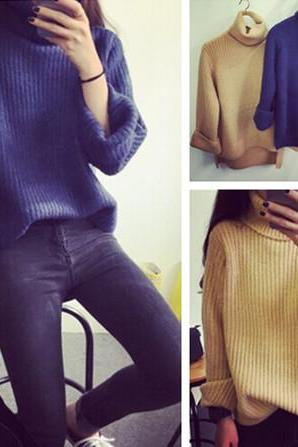 2014 new thickened cashmere sweater high necked short loose simple before after a long sweater girl