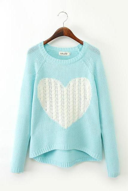 Long Sleeve Knitted Sweater with heart design - Gray / Blue