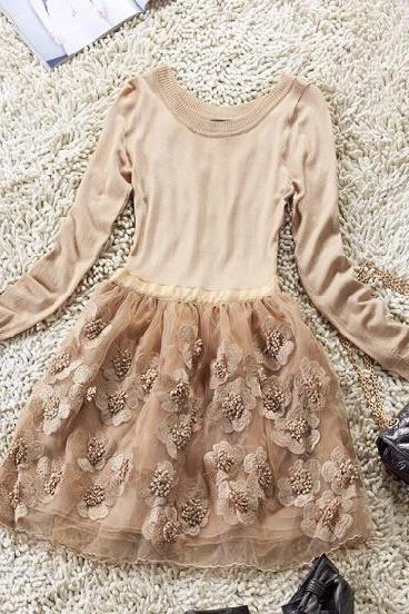 Organza Embroidered Long-Sleeved Dress