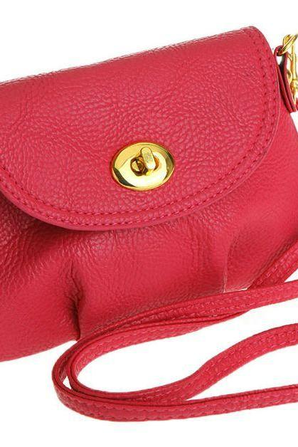 Cross body messenger red leather woman handbag