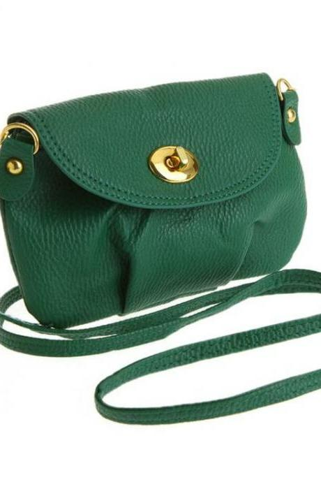 Cross body messenger green leather woman handbag
