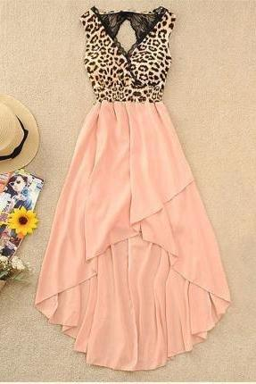 V-NECK VEST SEXY LEOPARD CHIFFON DRESS